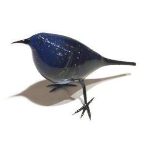 Shane Fero - Silver Bluebird.Flame worked glass. Silver blue, white, grey, gold, blue & black. 