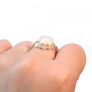 Shinji Nakaba. Hand carved pearl, forged bronze band. Size 7.5.