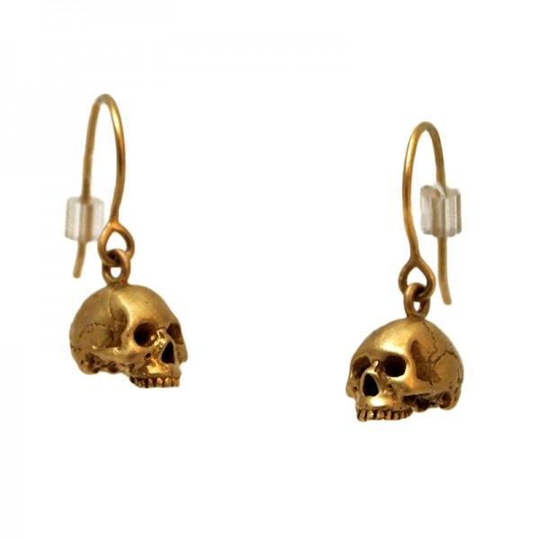 Gold Anatomical Skull Earrings