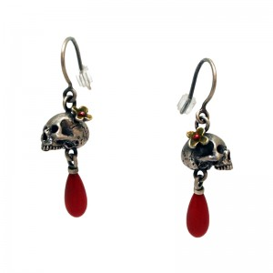 Yuri Tozuka, Silver Anatomical Skull Earrings with Flower and Coral