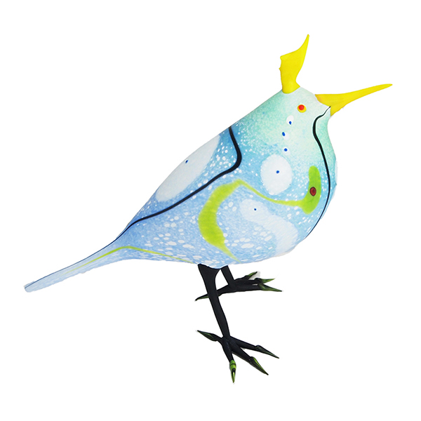 Yellow-Crested Blue Abstract Bird