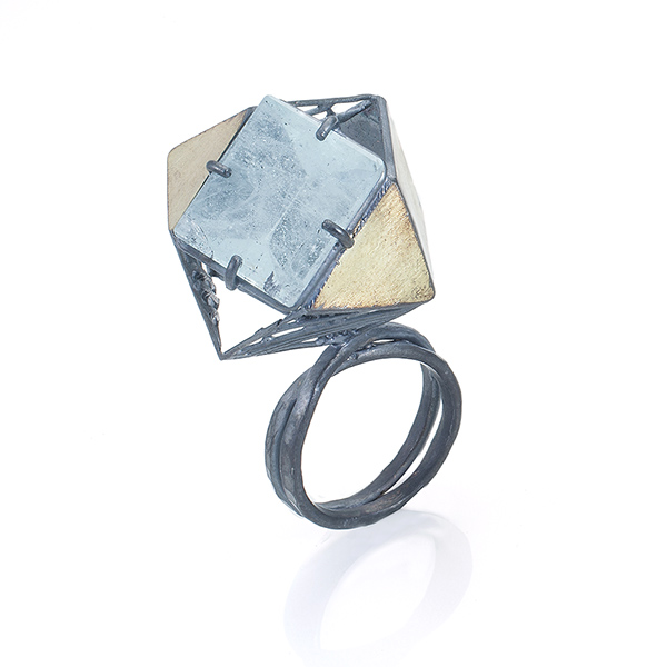 Jee Hye Kwon. 18K gold, oxidized sterling silver, aquamarine