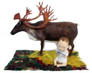 Kyoko Hazama King Reindeer And A Baby Playing Cat's Cradle