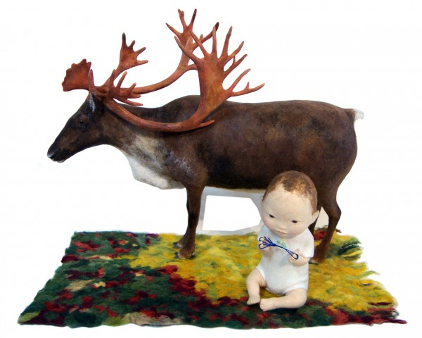 Kyoko Hazama King Reindeer And A Baby Playing Cat's Cradle