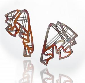KwonJ_Earring_Pleated IV_copper, silver, enamel, 2x1.75x0.75_2018