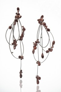 KwonJ_Earring_Rebirth II_ silver, copper, diamond, 1.75x5x0.75_2018