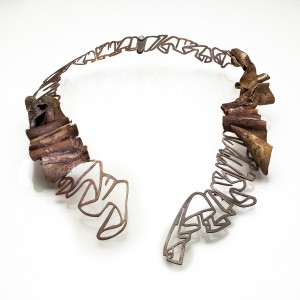 KwonJ_Necklace_Timeline_Brass, Copper, silver, 8x10.75x1.75_2018