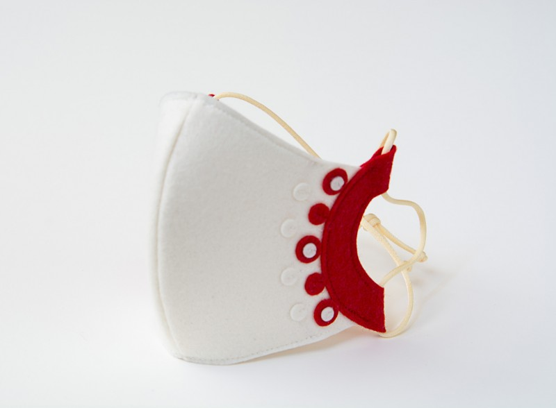 White and Red Mask