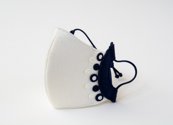 White and navy mask